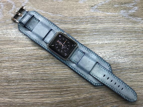 Apple Watch band, iwatch, full bund strap, cuff band, Leather Watch Band, Leather Watch strap, blue watch band, Apple Watch 38mm 42mm