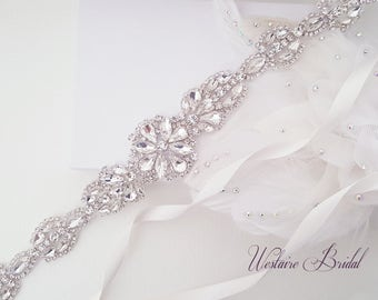 SALE Wedding Belt, Bridal Belt, Sash Belt, Crystal Rhinestones Sash Belt - Style 114