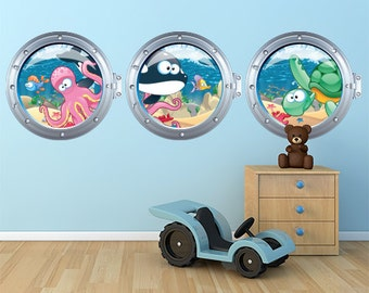 "R00030 Wall sticker for kids printed on wallpaper ""Oblò"""