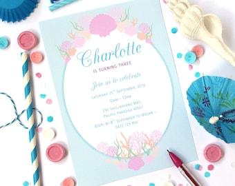 SEASHELL INVITATIONS, Mermaid invitations, Pool Party Invitations, Under the Sea Invitations, Beach Invitations, Printable, Personalised