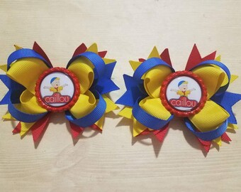 Caillou girls hair bows. Set of 2. Perfect for piggy tails :)