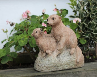 Meerkats,  Mum and Baby,  Stone Garden Ornament,  Lawn Decor,  Made In Cornwall, Cornwall Stoneware, Garden Gift Idea