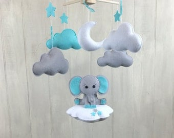 Elephant mobile - baby mobile - cloud mobile - elephant on the cloud - baby crib mobile - star mobile - moon - baby mobiles