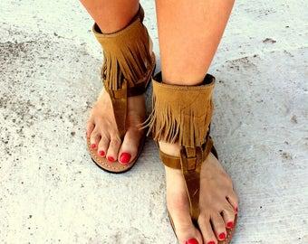 tampa greek sandals / aelia/tassel sandals boho/ mustard color with oil leather/ woman shoes/greek tassel flats