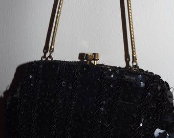 Vintage Handbag sale beaded  black purse evening prom wedding