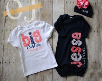 Big Sister Little Sister Personalized Baby Newborn Gift Set- Navy Blue, coral and cream - Shabby Chic Baby - Baby Shower