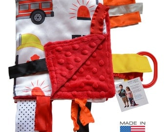 Baby Jack Fire Fighter Rescue Educational Sensory Blanket Lovey with Ribbon Tabs Made in USA