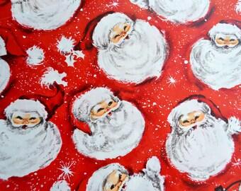 Vintage Christmas Wrapping Paper -  Santa Claus Heads - Hallmark Unused