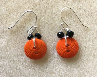 Orange and Black Button Dangle Earrings