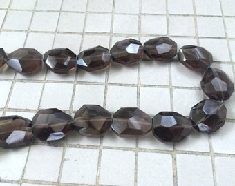 Full Strand Faceted Smoky Quartz Flat Nugget Beads