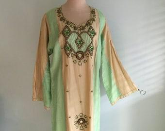 Vintage Silk beaded boho maxi dress/embroidered 70s caftan kaftan long sleeve cotton tent ethnic robe women plus tan India tunic 60s hippie