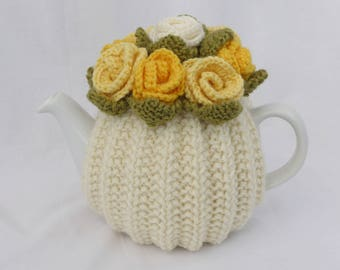 TEA COSY - MEDIUM - Hand Knitted Wool - Rose Flower - Aran Cream with Gold Yellow and Lemon flowers - 2 - 4 cup 1 litre medium teapot