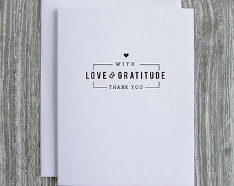 With Love and Gratitude - Thank You - Vintage Logo Design - Letterpress Blank Greeting Card on 100% Cotton Paper