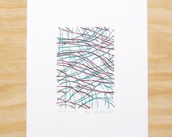 "Woodblock Print - ""Field Lines"" - Abstract Wall Art Printmaking"