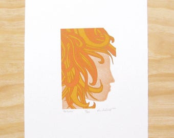 "Woodcut Print - ""Autumn"" - Woman Head Face - Seasons - Art Printmaking"