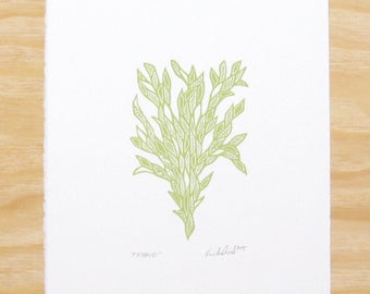 """Woodblock Print - """"Friend"""" - Sprout Green - Plant Printmaking"""