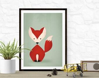 Fox Art Print | Woodland Nursery Art for Kids | Fox Ears & Tail Baby Shower Gift | Forest Nursery | Green Home Decor Wall Art Animals