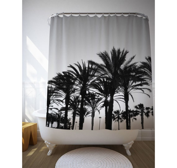 black and white palm trees shower curtain tropical bathroom. Black Bedroom Furniture Sets. Home Design Ideas