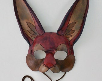 Brown Rabbit Mask Ornate Bunny Mask Mahogany Hare Mask