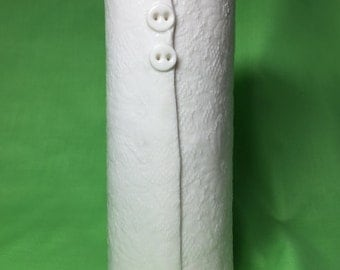Porcelain Ceramic White vase, with button design, unique vase, wedding, vintage lace, hessian, flower vase.