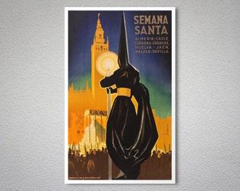 Semana Santa in Spain Vintage Travel Poster -  Poster Print, Sticker or Canvas Print