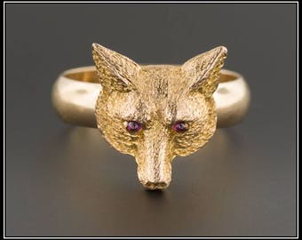 Fox Conversion Ring | 14k Gold Fox Ring | Antique Fox Ring | Antique Pin Conversion Ring | Fox Ring with Ruby Eyes