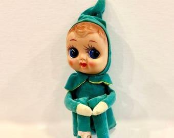 Vintage Pixie Elf Doll, Knee Hugger, Big Blue Eye Doll, Googly Eye Elf, Velvet Suit, Mask Face, Stuffed with Saw Dust. Japan, 1940s