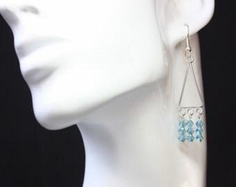 Sparkly Aquamarine Swarovski Earrings