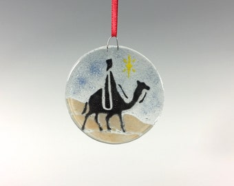 Wiseman Ornament, Fused Glass, Christmas Ornament, Camel, Holiday Decor