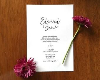 Printable Wedding Invitation, Minimalist Wedding Invitation, Wedding Invitation Download, Wedding Invitation Minimal, Classic Invitation