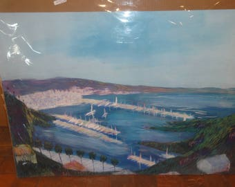 Impressionist Habor/ Sailing Boats/Palm Trees/Ocean/Original