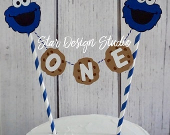 "Cookie Monster Cake topper ""One"" Sesame Street  Cake Topper Birthday bunting- Any age and name available"