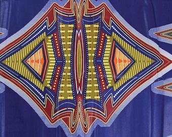 Blue African Cosmic Print Fabric