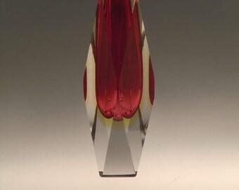 Italian Murano Sommerso Art Glass Vase Cut into Facets