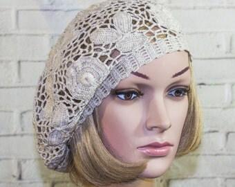 Beanie Women Hat Summer Beret  Hat   Women Linen Naturel  Neutral Gift Irish crochet