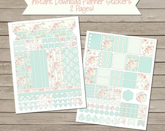 INSTANT DOWNLOAD - 50% OFF Shabby Chic Floral Planner Stickers