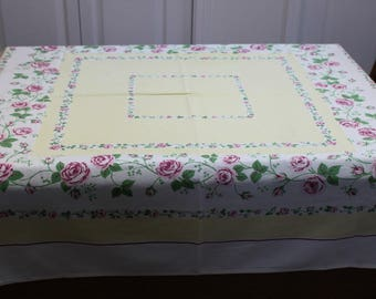 Rose Filled Yellow Vintage Kitchen Tablecloth