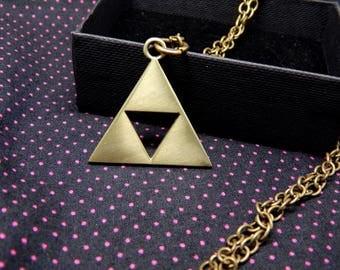 Zelda Triforce Necklace pendant gold Legend of Zelda Link game gift chain jewelry bronze yellow metal