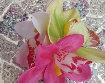 Triple Cybidium Orchid Clip- Pink, White and Green