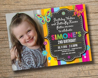 Butterfly Birthday Invitation, Butterfly Invitation, Butterfly Birthday Party, Butterfly Party Digital Invitation, Photo Girl Birthday Party