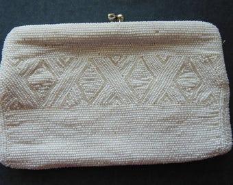 Vintage White Beaded Clutch Handbag Needs Repair for Crafts