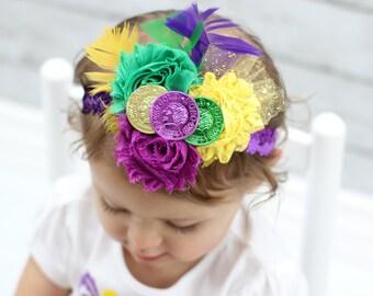 Mardi Gras Headband - Mardi Gras Hair - Mardi Gras Baby Headband - Mardi Gras Toddler Headband - Mardi Gras Accessory - Mardi Gras Parade