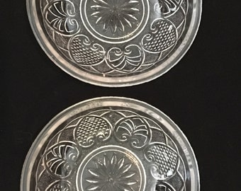 Early American Pressed Glass EAPG Palmette/ Hearts and Spades Butter Pats (2)