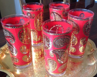 Vintage Red and Gold Paisley Culver Glasses Set of 5