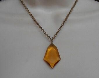 Art Deco Golden Topaz Faceted Glass Necklace, Gilt Brass Citrine Geometric Pendant Drop