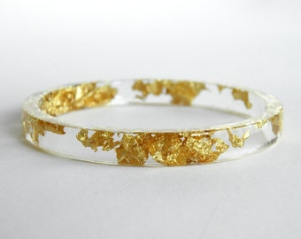 Gold Stacker Bangle - Resin with Gold Leaf