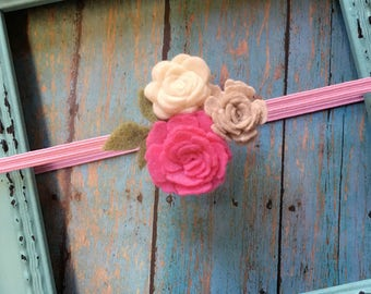 Baby Flower Headband-Felt Flower Headband, Felt Baby Headband, Newborn Baby Headband, Felt Flowers, Pretty for Pictures, Toddler Headband