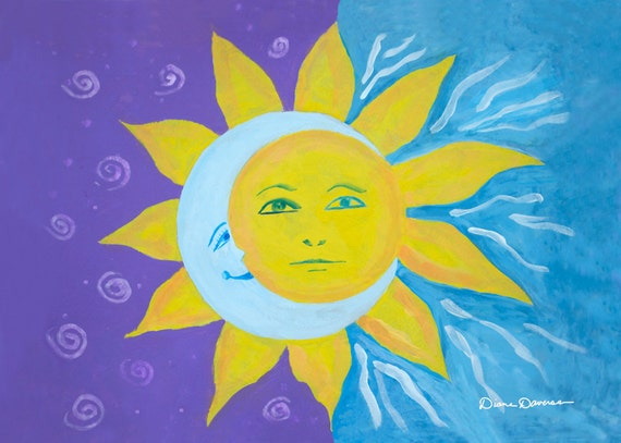 Sun Moon Acrylic Painting Boho Lifestyle Art Print