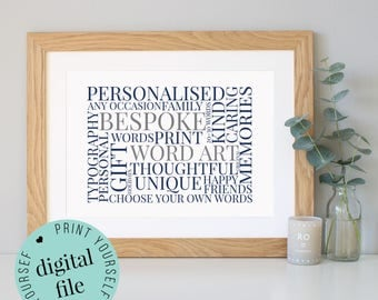 Custom word art etsy personalised word art word art printable custom word art personalised prints pronofoot35fo Choice Image