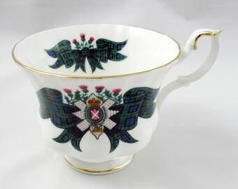 """Royal Albert Orphan Tea Cup, Scottish Tartan Series """"Black Watch"""", Replacement Tea Cup, Teacup ONLY, No Saucer"""